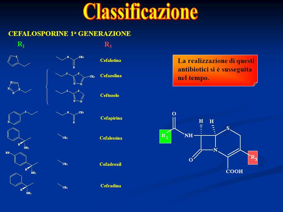 CEFALOSPORINE 1 a GENERAZIONE R1R1 R3R3 Cefalotina Cefazolina Ceftezolo Cefapirina Cefalessina Cefadroxil Cefradina La realizzazione di questi antibio