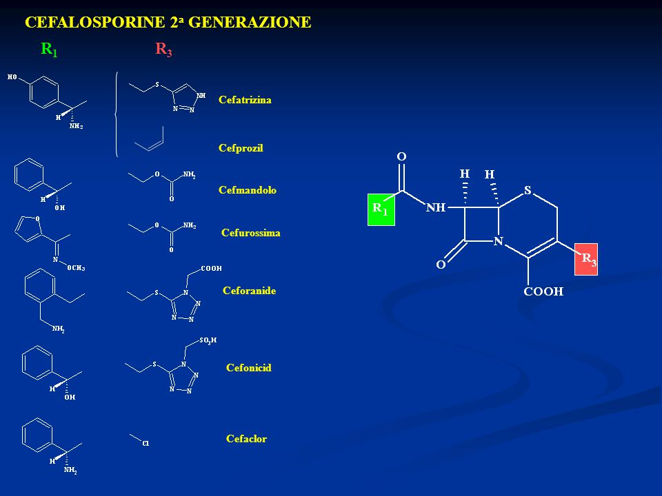 CEFALOSPORINE 2 a GENERAZIONE R1R1 R3R3 Cefatrizina Cefprozil Cefmandolo Cefurossima Ceforanide Cefonicid Cefaclor