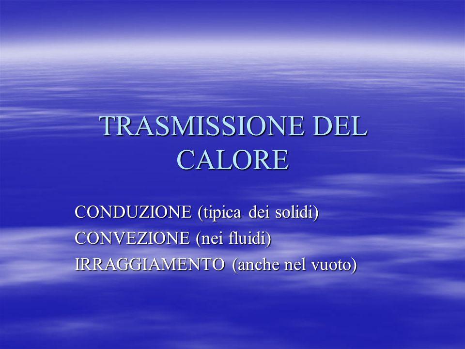 TRASMISSIONE DEL CALORE CONDUZIONE (tipica dei solidi) CONVEZIONE (nei fluidi) IRRAGGIAMENTO (anche nel vuoto)