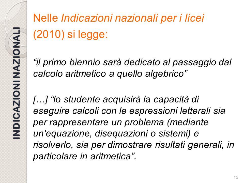 """14 CALCOLO LETTERALE L'insegnamento del calcolo letterale: come renderlo """"intelligente""""? La tesi dell'articolo di G. Prodi e V. Villani è che """"pur sen"""