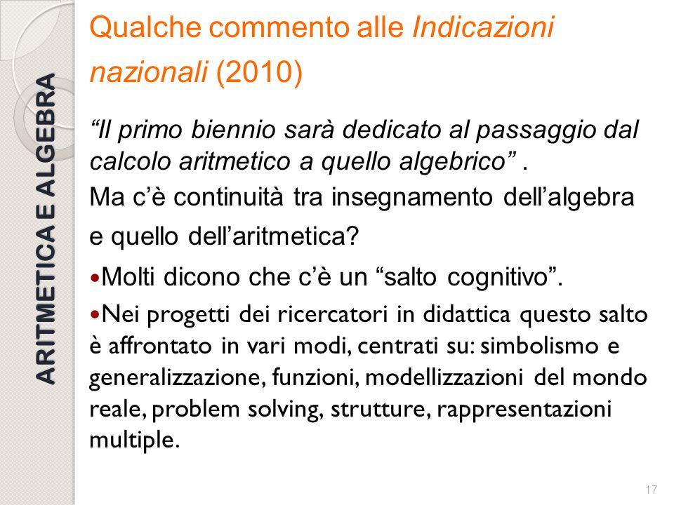 16 INDICAZIONI NAZIONALI Nelle Indicazioni nazionali per i licei (2010) si legge: Lo studente apprenderà gli elementi di base del calcolo letterale, l