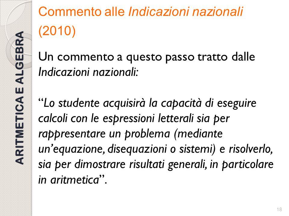 """17 ARITMETICA E ALGEBRA Qualche commento alle Indicazioni nazionali (2010) """"Il primo biennio sarà dedicato al passaggio dal calcolo aritmetico a quell"""