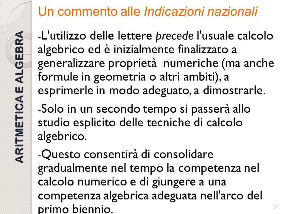 20 ARITMETICA E ALGEBRA Esempi che vanno nel senso delle Indicazioni nazionali/Linee guida (2010) Consideriamo un numero naturale n. Che cosa si può d