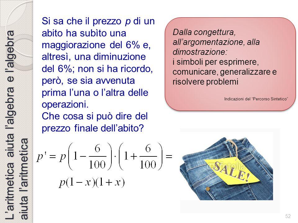 51 L'aritmetica aiuta l'algebra e l'algebra aiuta l'aritmetica Dall'aritmetica all'algebra e viceversa Dall'aritmetica all'algebra e viceversa Un fatt