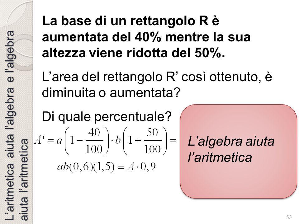 52 L'aritmetica aiuta l'algebra e l'algebra aiuta l'aritmetica Dalla congettura, all'argomentazione, alla dimostrazione: i simboli per esprimere, comu
