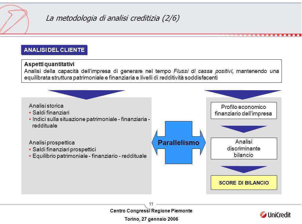 11 Centro Congressi Regione Piemonte Torino, 27 gennaio 2006 Aspetti quantitativi Analisi della capacità dell'impresa di generare nel tempo Flussi di