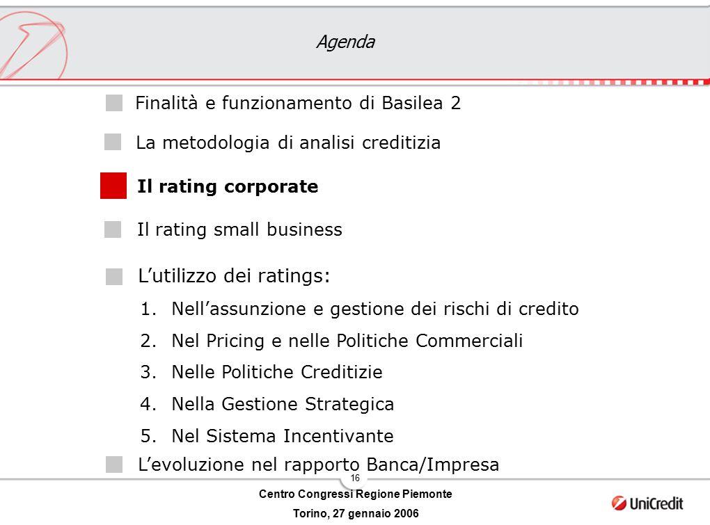 16 Centro Congressi Regione Piemonte Torino, 27 gennaio 2006 Agenda L'utilizzo dei ratings: Il rating corporate Il rating small business Finalità e fu