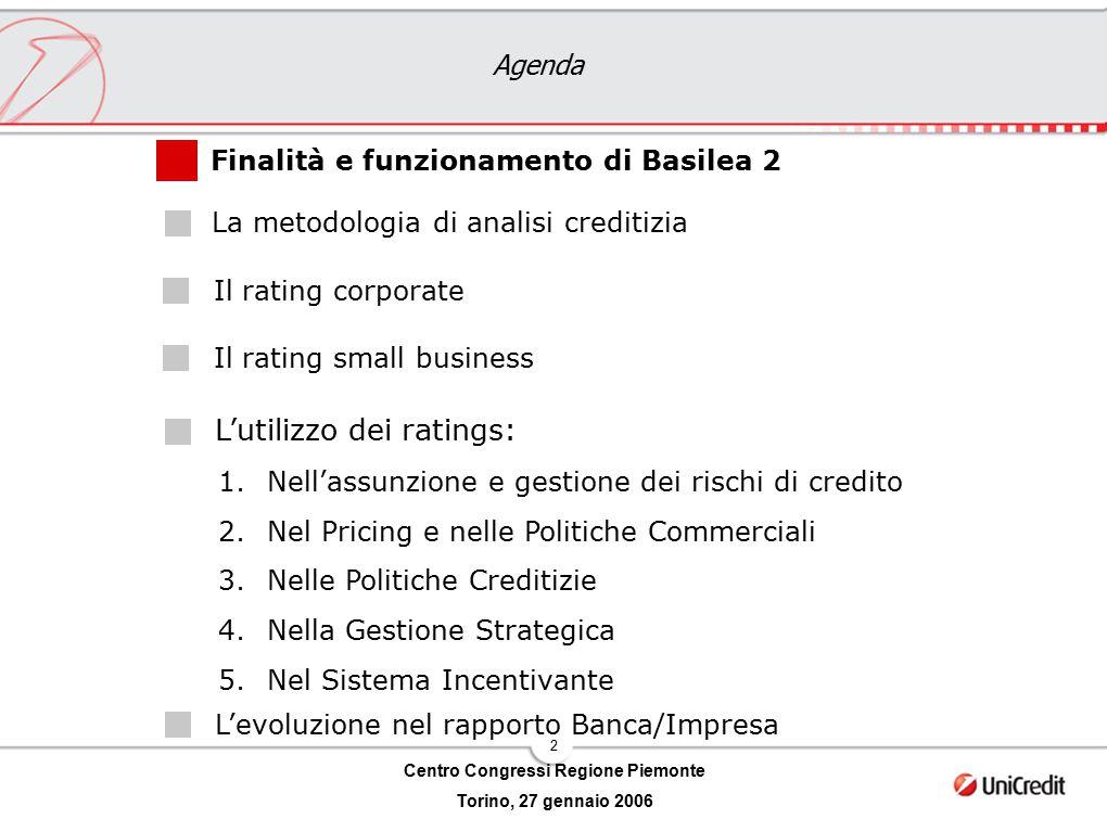 2 Centro Congressi Regione Piemonte Torino, 27 gennaio 2006 Agenda L'utilizzo dei ratings: Il rating corporate Il rating small business Finalità e fun