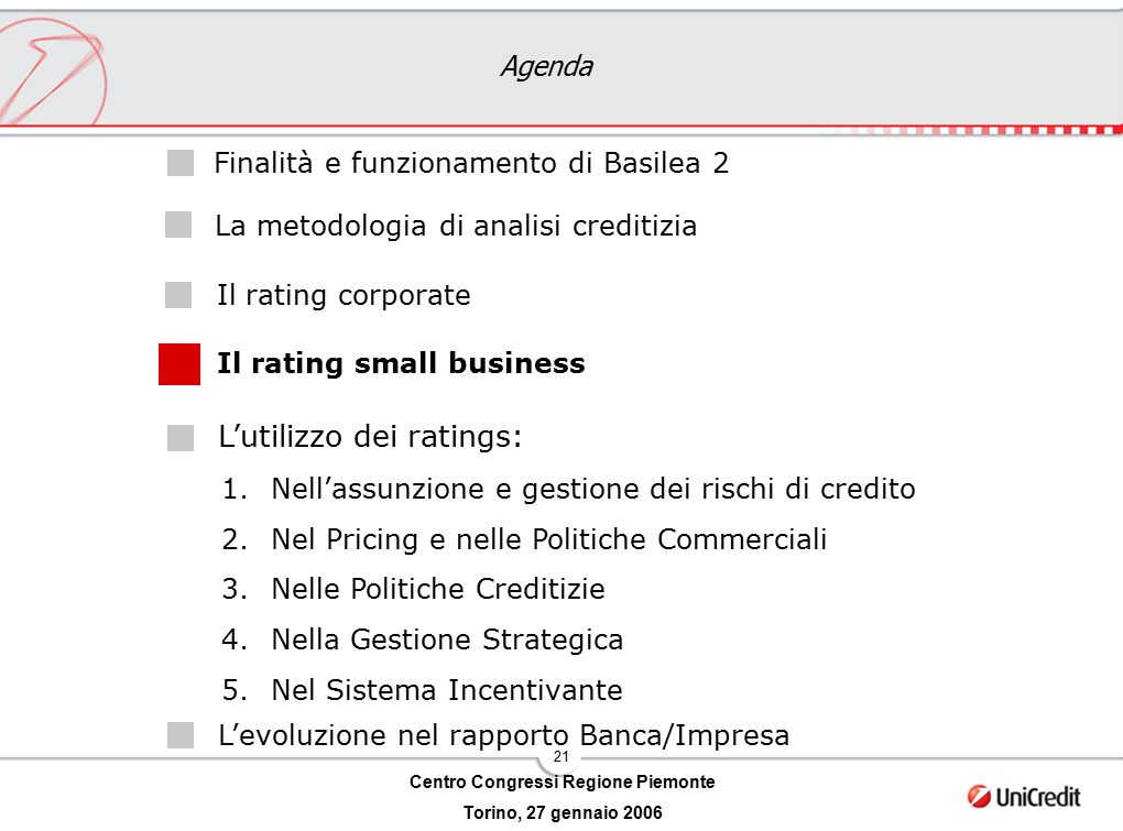 21 Centro Congressi Regione Piemonte Torino, 27 gennaio 2006 Agenda L'utilizzo dei ratings: Il rating corporate Il rating small business Finalità e fu