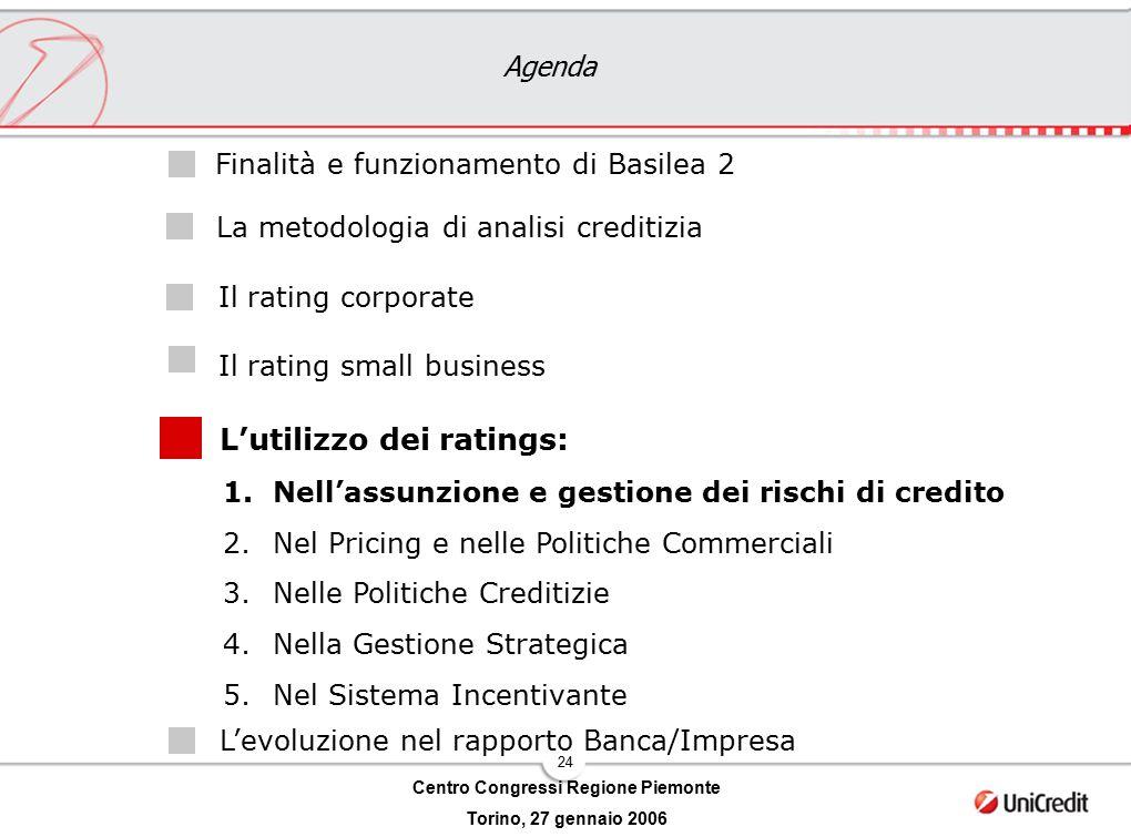 24 Centro Congressi Regione Piemonte Torino, 27 gennaio 2006 Agenda L'utilizzo dei ratings: Il rating corporate Il rating small business Finalità e fu