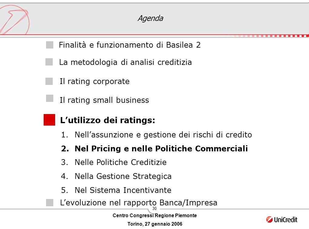 30 Centro Congressi Regione Piemonte Torino, 27 gennaio 2006 Agenda L'utilizzo dei ratings: Il rating corporate Il rating small business Finalità e fu