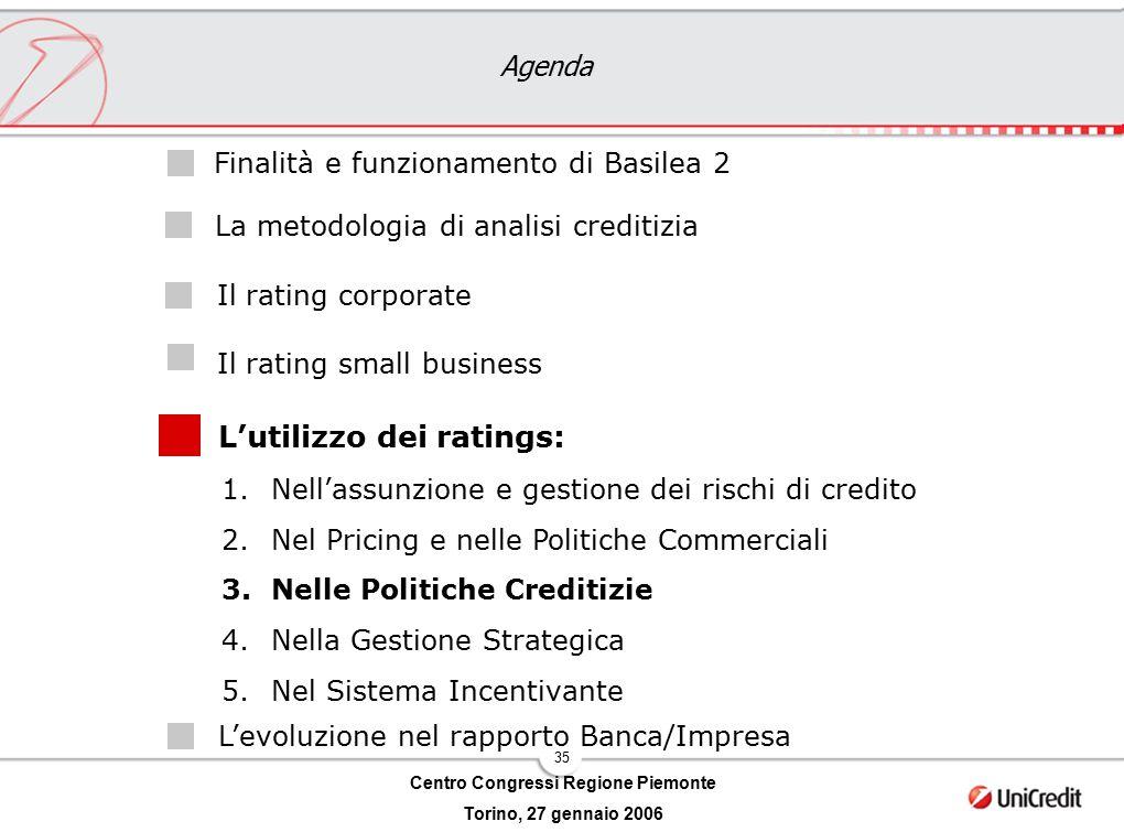 35 Centro Congressi Regione Piemonte Torino, 27 gennaio 2006 Agenda L'utilizzo dei ratings: Il rating corporate Il rating small business Finalità e fu