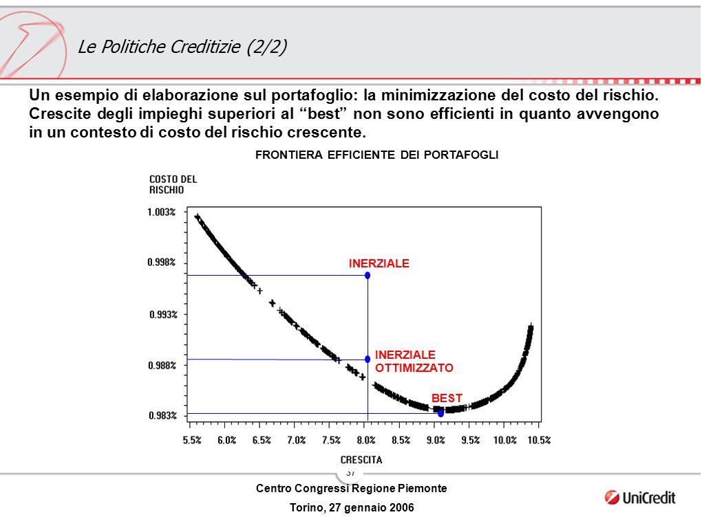 37 Centro Congressi Regione Piemonte Torino, 27 gennaio 2006 Un esempio di elaborazione sul portafoglio: la minimizzazione del costo del rischio. Cres