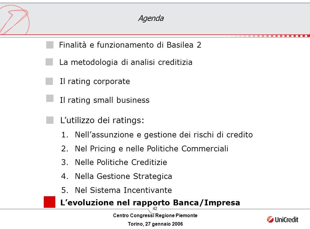 42 Centro Congressi Regione Piemonte Torino, 27 gennaio 2006 Agenda L'utilizzo dei ratings: Il rating corporate Il rating small business Finalità e fu