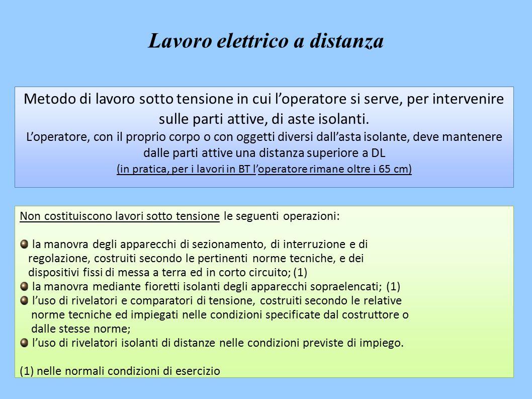 Metodo di lavoro sotto tensione in cui l'operatore si serve, per intervenire sulle parti attive, di aste isolanti.