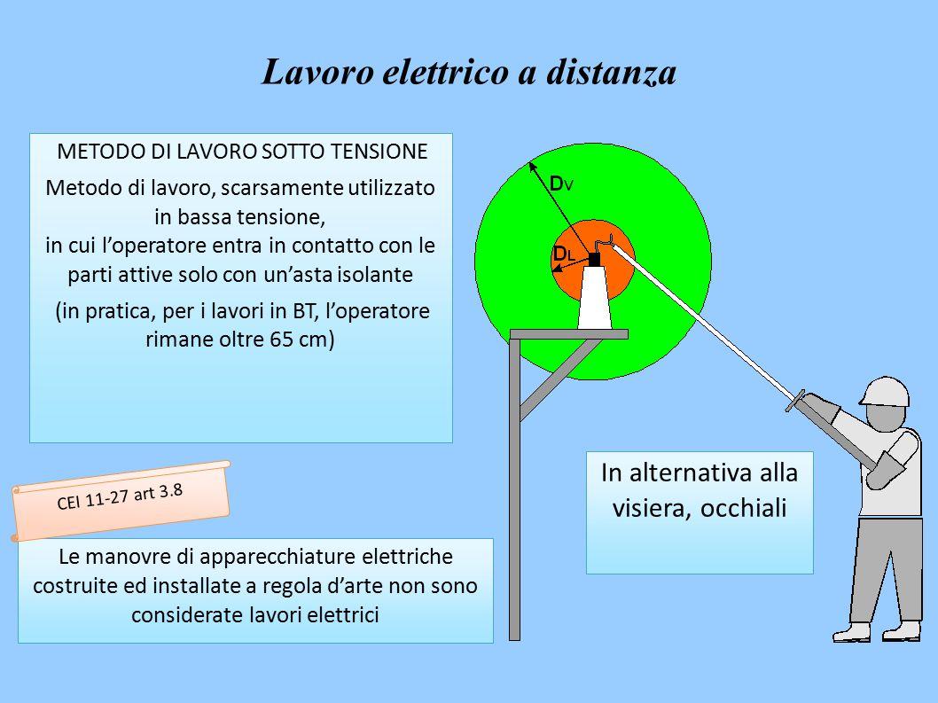 METODO DI LAVORO SOTTO TENSIONE Metodo di lavoro, scarsamente utilizzato in bassa tensione, in cui l'operatore entra in contatto con le parti attive solo con un'asta isolante (in pratica, per i lavori in BT, l'operatore rimane oltre 65 cm) Le manovre di apparecchiature elettriche costruite ed installate a regola d'arte non sono considerate lavori elettrici In alternativa alla visiera, occhiali CEI 11-27 art 3.8 Lavoro elettrico a distanza