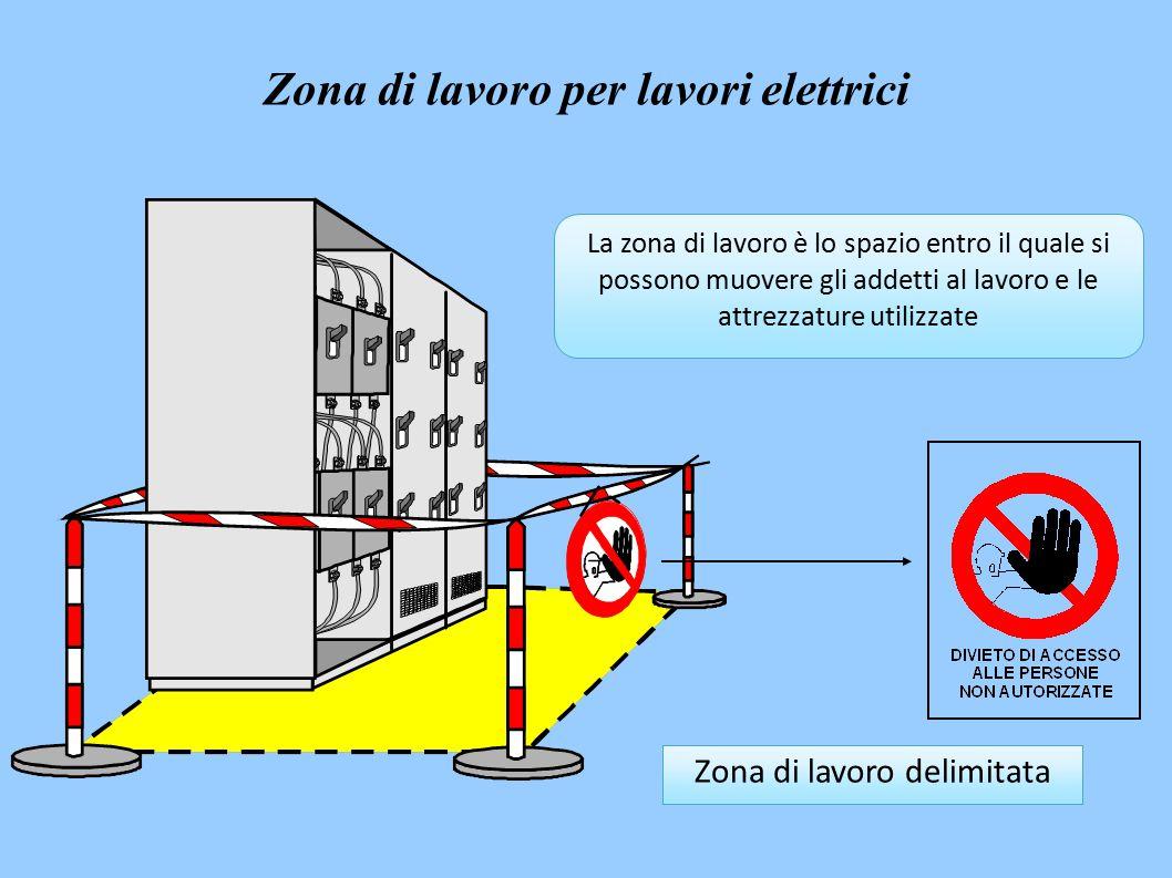 La zona di lavoro è lo spazio entro il quale si possono muovere gli addetti al lavoro e le attrezzature utilizzate Zona di lavoro delimitata Zona di lavoro per lavori elettrici