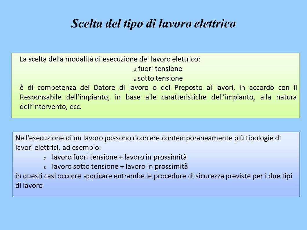 La scelta della modalità di esecuzione del lavoro elettrico: & fuori tensione & sotto tensione è di competenza del Datore di lavoro o del Preposto ai lavori, in accordo con il Responsabile dell'impianto, in base alle caratteristiche dell'impianto, alla natura dell'intervento, ecc.