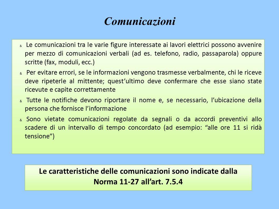 & Le comunicazioni tra le varie figure interessate ai lavori elettrici possono avvenire per mezzo di comunicazioni verbali (ad es.