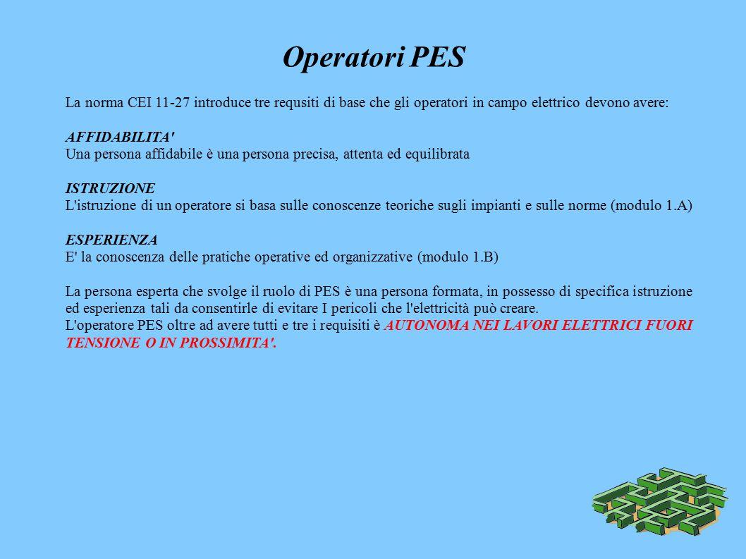 Operatori PES La norma CEI 11-27 introduce tre requsiti di base che gli operatori in campo elettrico devono avere: AFFIDABILITA Una persona affidabile è una persona precisa, attenta ed equilibrata ISTRUZIONE L istruzione di un operatore si basa sulle conoscenze teoriche sugli impianti e sulle norme (modulo 1.A) ESPERIENZA E la conoscenza delle pratiche operative ed organizzative (modulo 1.B) La persona esperta che svolge il ruolo di PES è una persona formata, in possesso di specifica istruzione ed esperienza tali da consentirle di evitare I pericoli che l elettricità può creare.