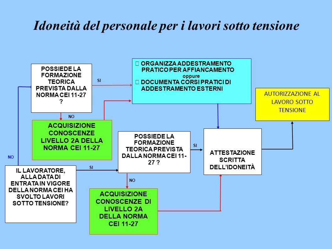 IL LAVORATORE, ALLA DATA DI ENTRATA IN VIGORE DELLA NORMA CEI HA SVOLTO LAVORI SOTTO TENSIONE.
