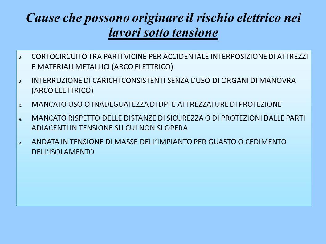 & CORTOCIRCUITO TRA PARTI VICINE PER ACCIDENTALE INTERPOSIZIONE DI ATTREZZI E MATERIALI METALLICI (ARCO ELETTRICO) & INTERRUZIONE DI CARICHI CONSISTENTI SENZA L'USO DI ORGANI DI MANOVRA (ARCO ELETTRICO) & MANCATO USO O INADEGUATEZZA DI DPI E ATTREZZATURE DI PROTEZIONE & MANCATO RISPETTO DELLE DISTANZE DI SICUREZZA O DI PROTEZIONI DALLE PARTI ADIACENTI IN TENSIONE SU CUI NON SI OPERA & ANDATA IN TENSIONE DI MASSE DELL'IMPIANTO PER GUASTO O CEDIMENTO DELL'ISOLAMENTO Cause che possono originare il rischio elettrico nei lavori sotto tensione