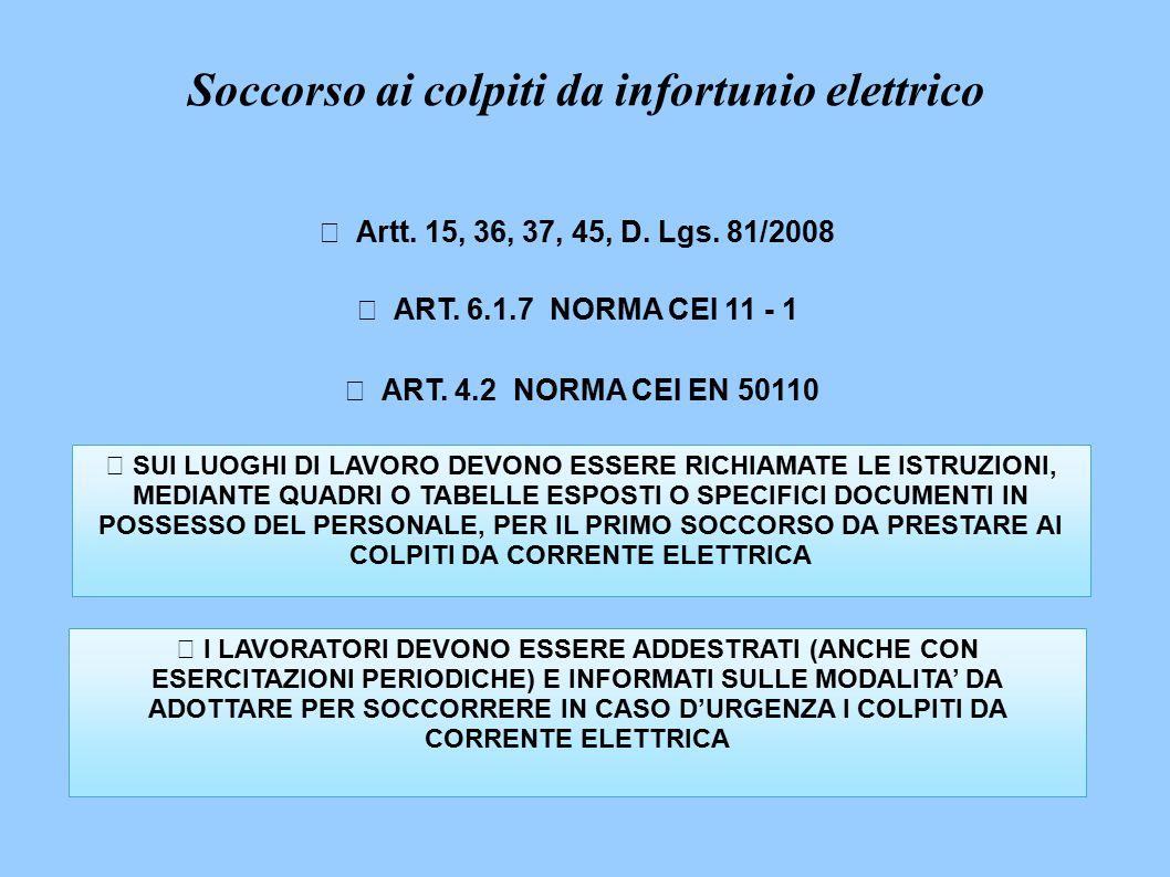  Artt. 15, 36, 37, 45, D. Lgs. 81/2008  ART. 6.1.7 NORMA CEI 11 - 1  ART.