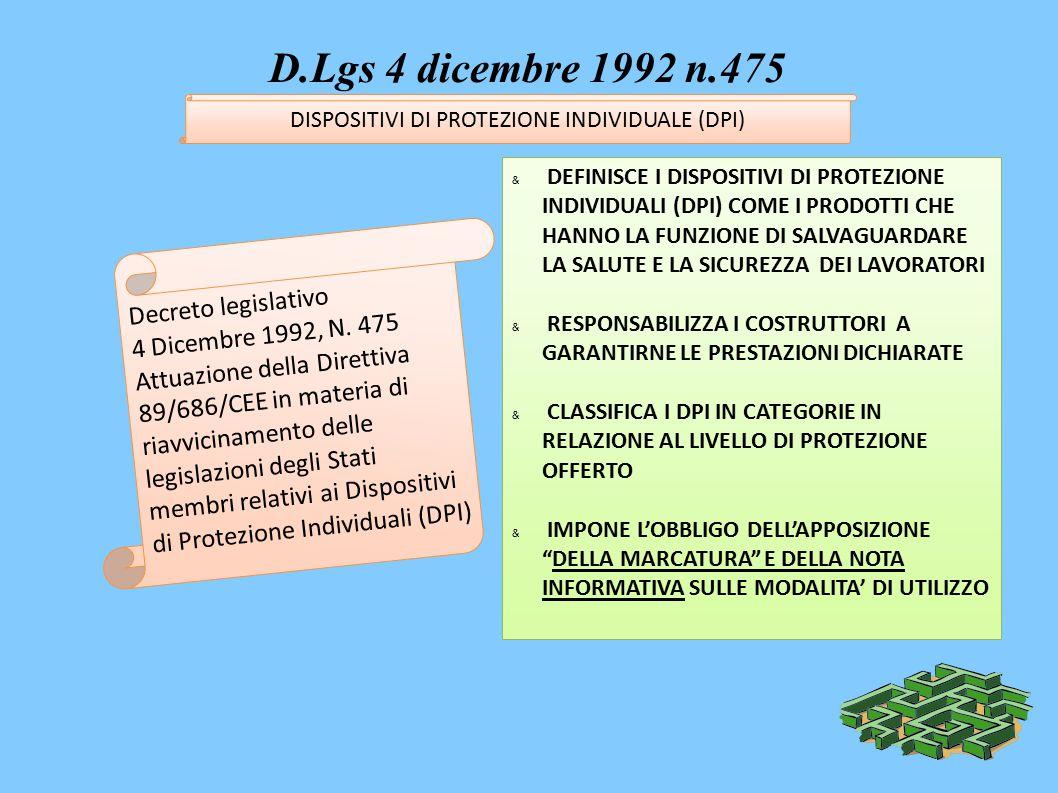 D.Lgs 4 dicembre 1992 n.475 & DEFINISCE I DISPOSITIVI DI PROTEZIONE INDIVIDUALI (DPI) COME I PRODOTTI CHE HANNO LA FUNZIONE DI SALVAGUARDARE LA SALUTE E LA SICUREZZA DEI LAVORATORI & RESPONSABILIZZA I COSTRUTTORI A GARANTIRNE LE PRESTAZIONI DICHIARATE & CLASSIFICA I DPI IN CATEGORIE IN RELAZIONE AL LIVELLO DI PROTEZIONE OFFERTO & IMPONE L'OBBLIGO DELL'APPOSIZIONE DELLA MARCATURA E DELLA NOTA INFORMATIVA SULLE MODALITA' DI UTILIZZO Decreto legislativo 4 Dicembre 1992, N.