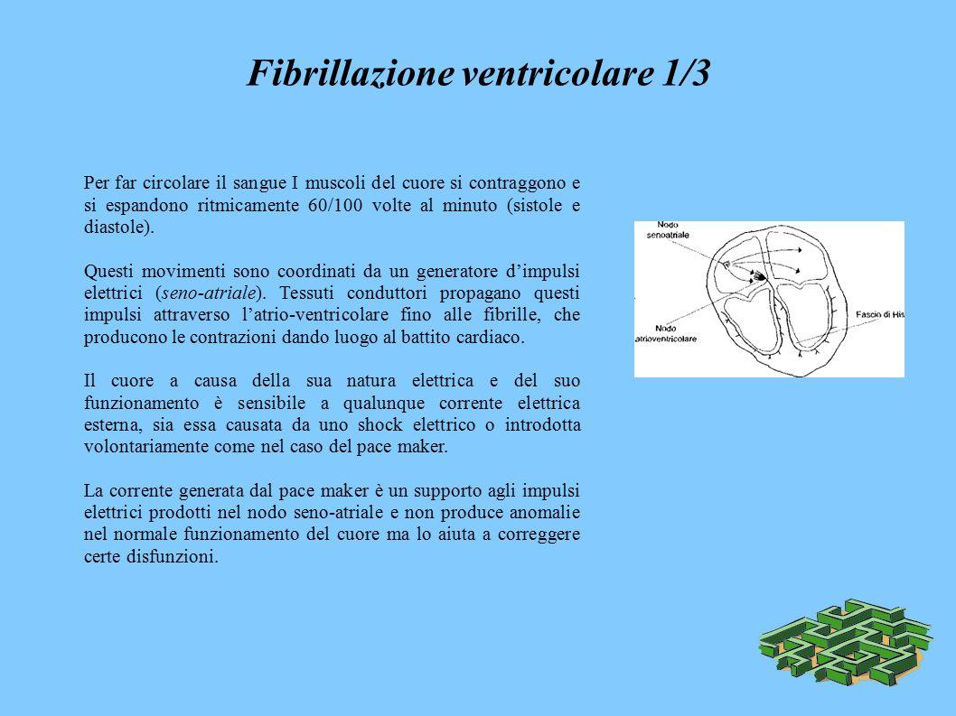 Fibrillazione ventricolare 1/3 Per far circolare il sangue I muscoli del cuore si contraggono e si espandono ritmicamente 60/100 volte al minuto (sistole e diastole).