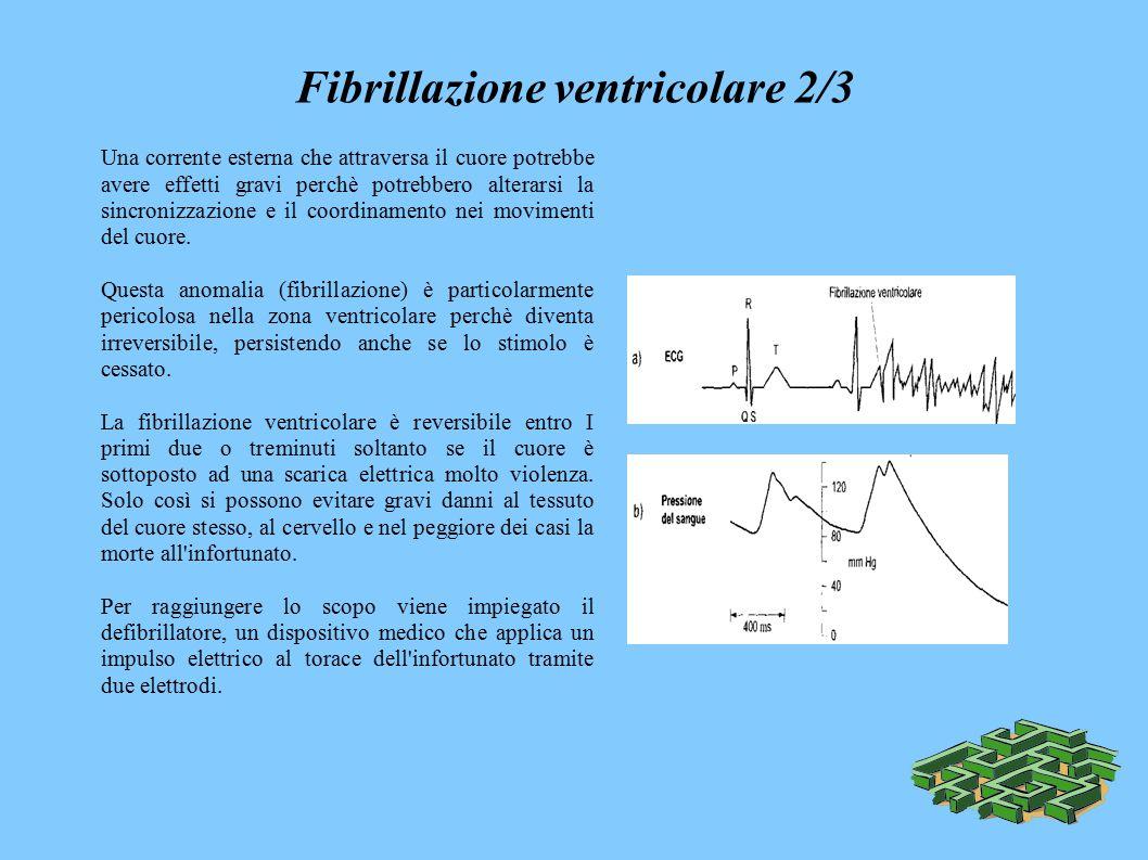 Fibrillazione ventricolare 2/3 Una corrente esterna che attraversa il cuore potrebbe avere effetti gravi perchè potrebbero alterarsi la sincronizzazione e il coordinamento nei movimenti del cuore.