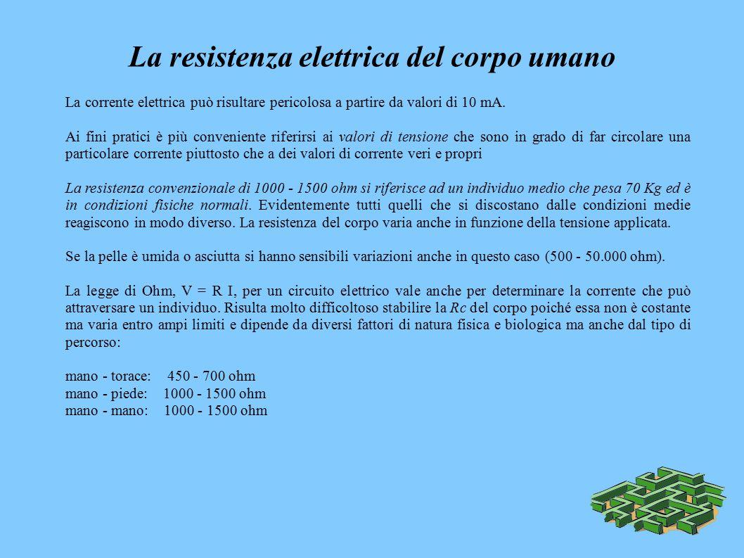 La resistenza elettrica del corpo umano La corrente elettrica può risultare pericolosa a partire da valori di 10 mA.