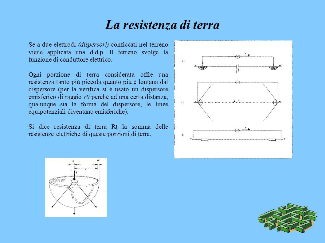 La resistenza di terra Se a due elettrodi (dispersori) conficcati nel terreno viene applicata una d.d.p.