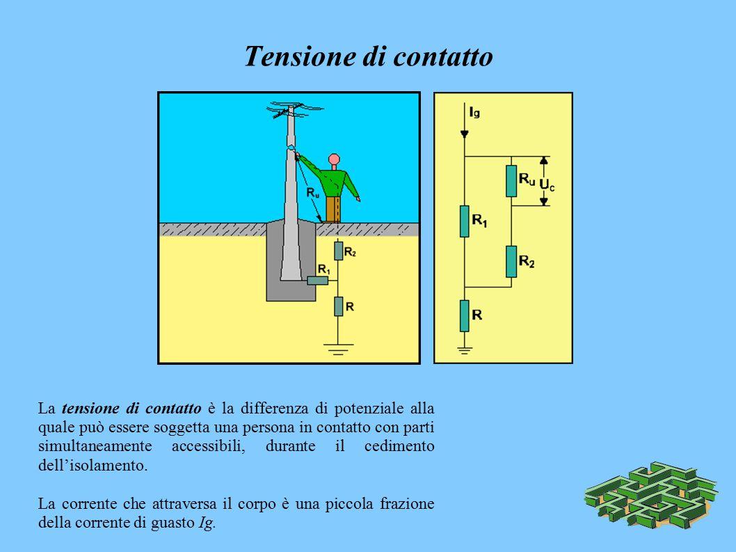 Tensione di contatto La tensione di contatto è la differenza di potenziale alla quale può essere soggetta una persona in contatto con parti simultaneamente accessibili, durante il cedimento dell'isolamento.