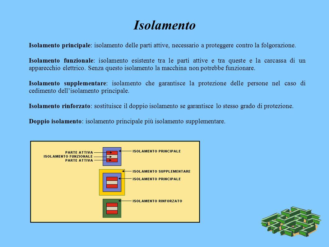 Isolamento Isolamento principale: isolamento delle parti attive, necessario a proteggere contro la folgorazione.