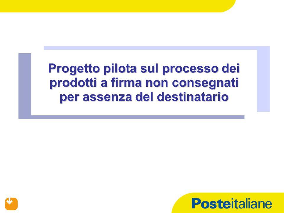 02/04/2015 Progetto pilota sul processo dei prodotti a firma non consegnati per assenza del destinatario