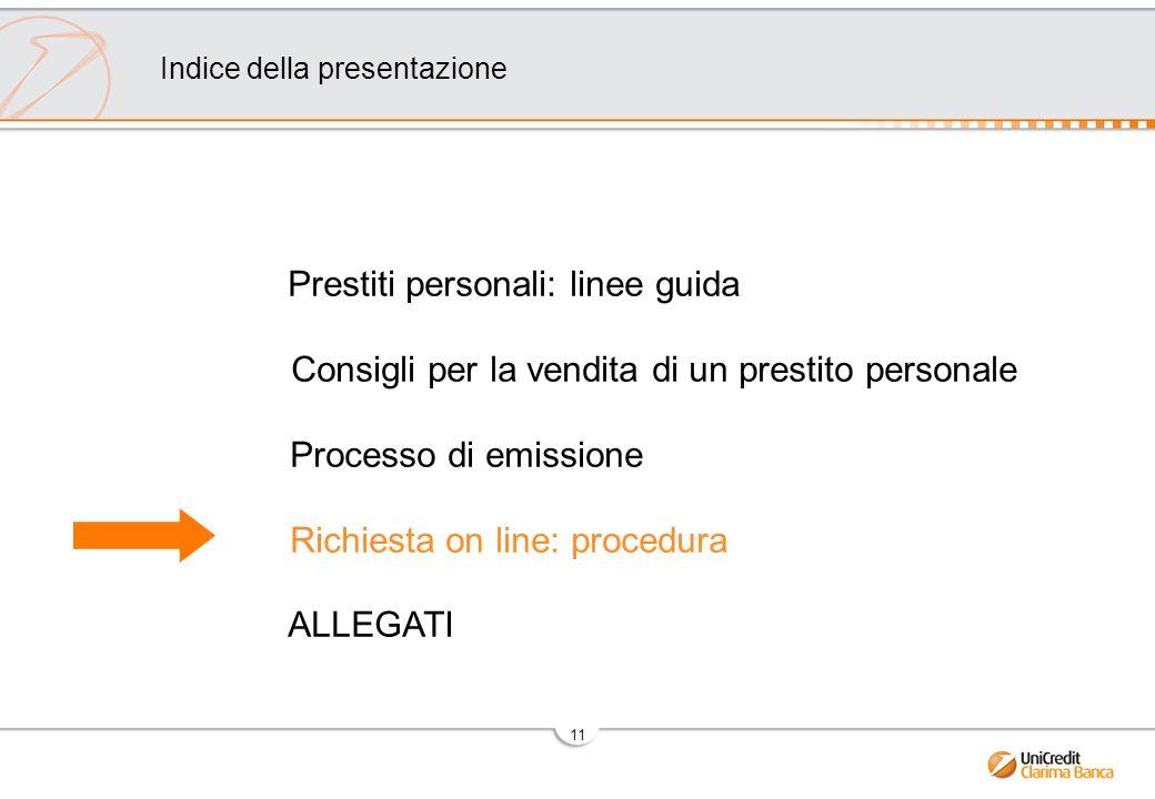11 Prestiti personali: linee guida Consigli per la vendita di un prestito personale Processo di emissione Richiesta on line: procedura ALLEGATI Indice della presentazione