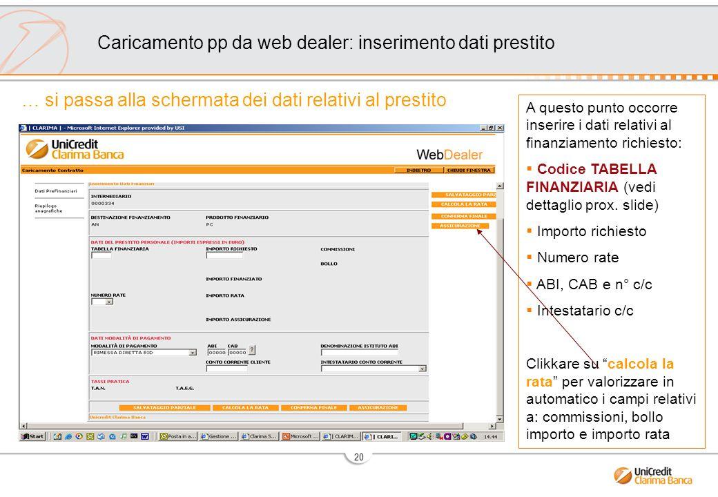 20 A questo punto occorre inserire i dati relativi al finanziamento richiesto:  Codice TABELLA FINANZIARIA (vedi dettaglio prox.