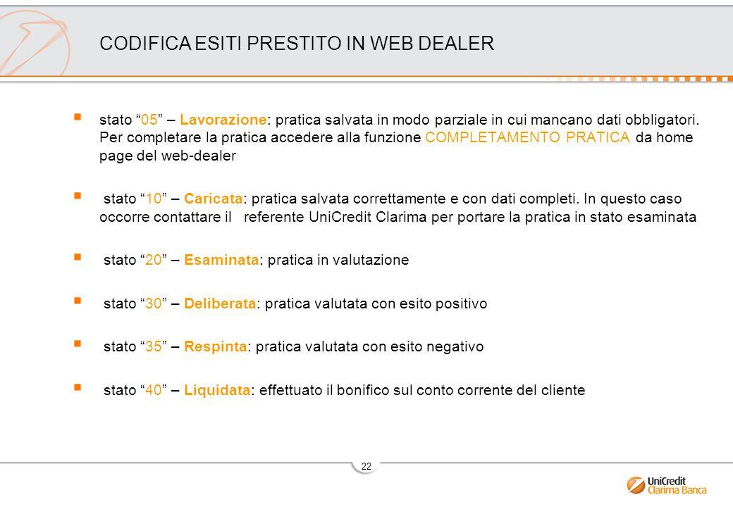 22 CODIFICA ESITI PRESTITO IN WEB DEALER  stato 05 – Lavorazione: pratica salvata in modo parziale in cui mancano dati obbligatori.