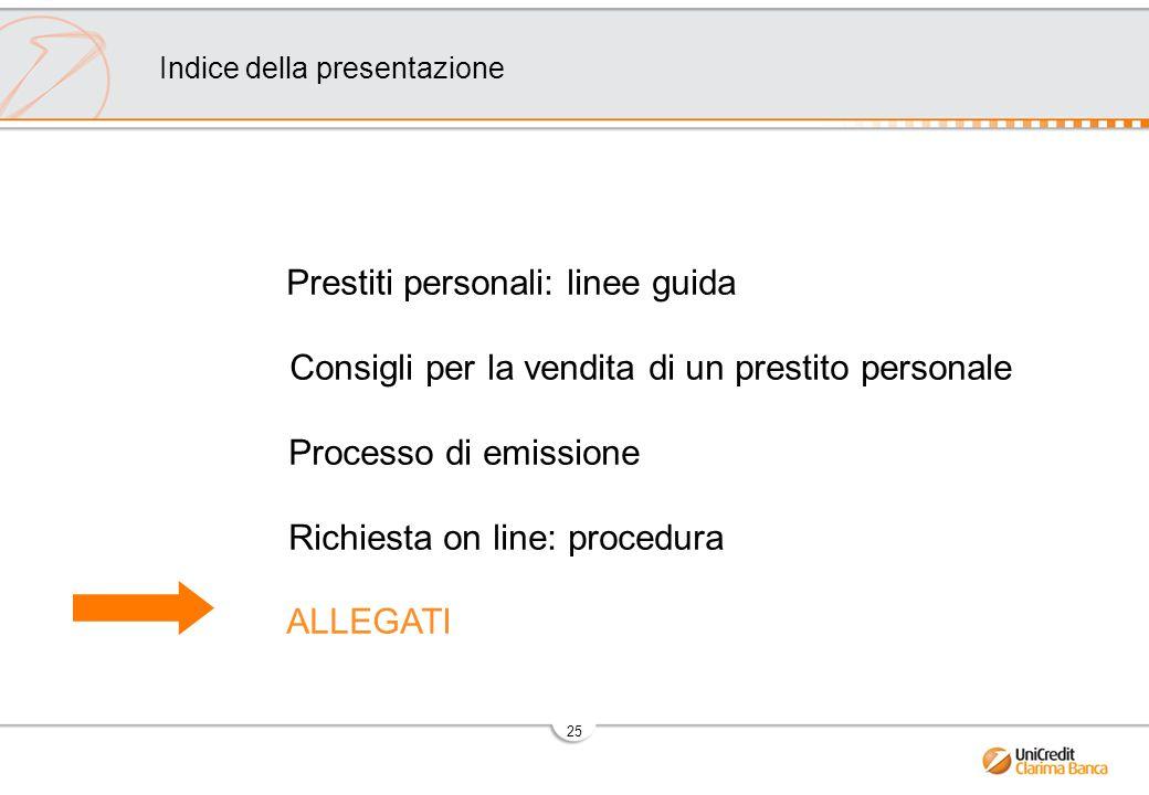 25 Prestiti personali: linee guida Consigli per la vendita di un prestito personale Processo di emissione Richiesta on line: procedura ALLEGATI Indice della presentazione