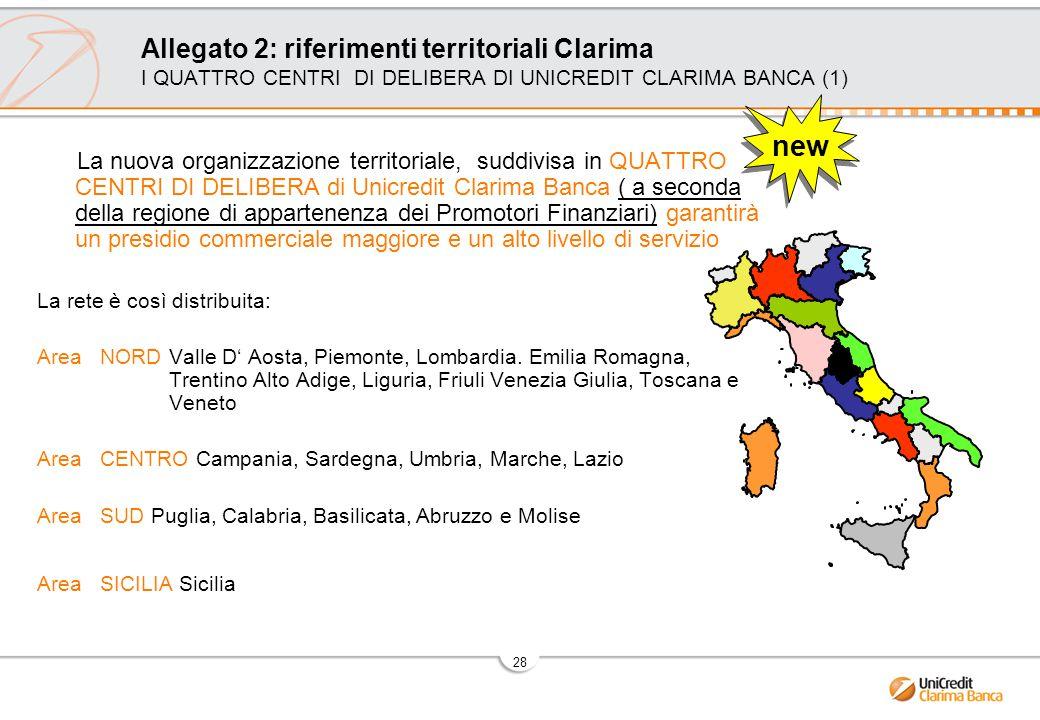 28 Allegato 2: riferimenti territoriali Clarima I QUATTRO CENTRI DI DELIBERA DI UNICREDIT CLARIMA BANCA (1) La nuova organizzazione territoriale, suddivisa in QUATTRO CENTRI DI DELIBERA di Unicredit Clarima Banca ( a seconda della regione di appartenenza dei Promotori Finanziari) garantirà un presidio commerciale maggiore e un alto livello di servizio La rete è così distribuita: Area NORD Valle D' Aosta, Piemonte, Lombardia.