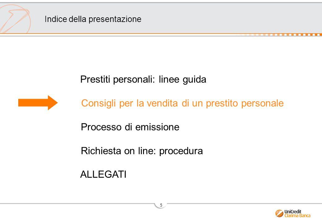 5 Prestiti personali: linee guida Consigli per la vendita di un prestito personale Processo di emissione Richiesta on line: procedura ALLEGATI Indice della presentazione