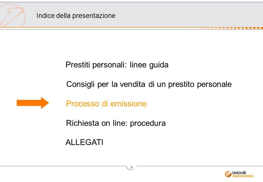 9 Prestiti personali: linee guida Consigli per la vendita di un prestito personale Processo di emissione Richiesta on line: procedura ALLEGATI Indice della presentazione