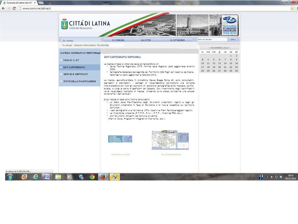 DATI CARTOGRAFICI DISPONIBILI La Mappa di base e' ottenuta dalla sovrapposizione di: Carta Tecnica Regionale (CTR) fornita dalla Regione Lazio aggiorn