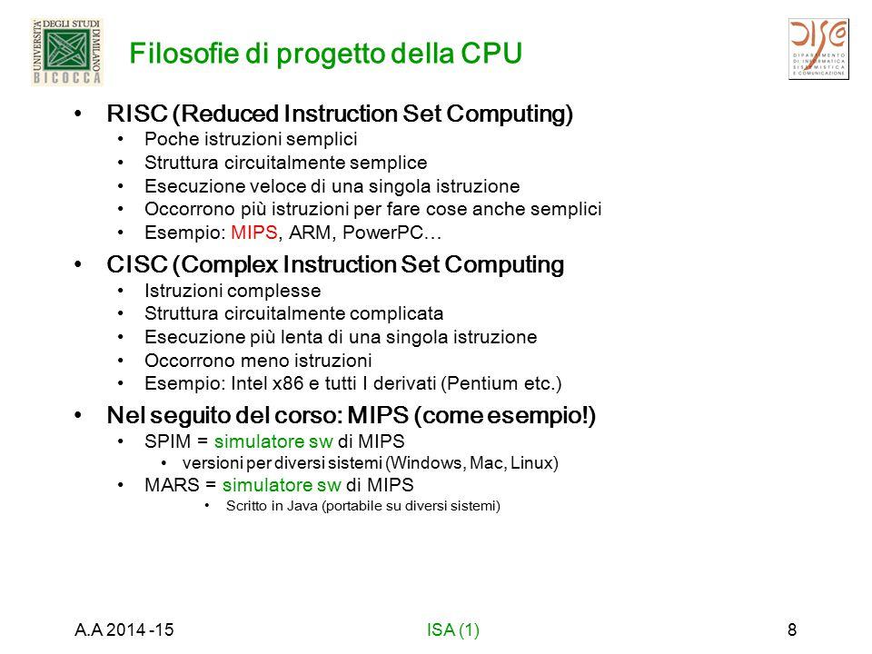 Architettura MIPS e linguaggio macchina RISC: semplice, uniforme e facile (?) da capire 32 registri di 32 bit Istruzioni di 32 bit Quali operazioni devono essere rappresentate dalle istruzioni.
