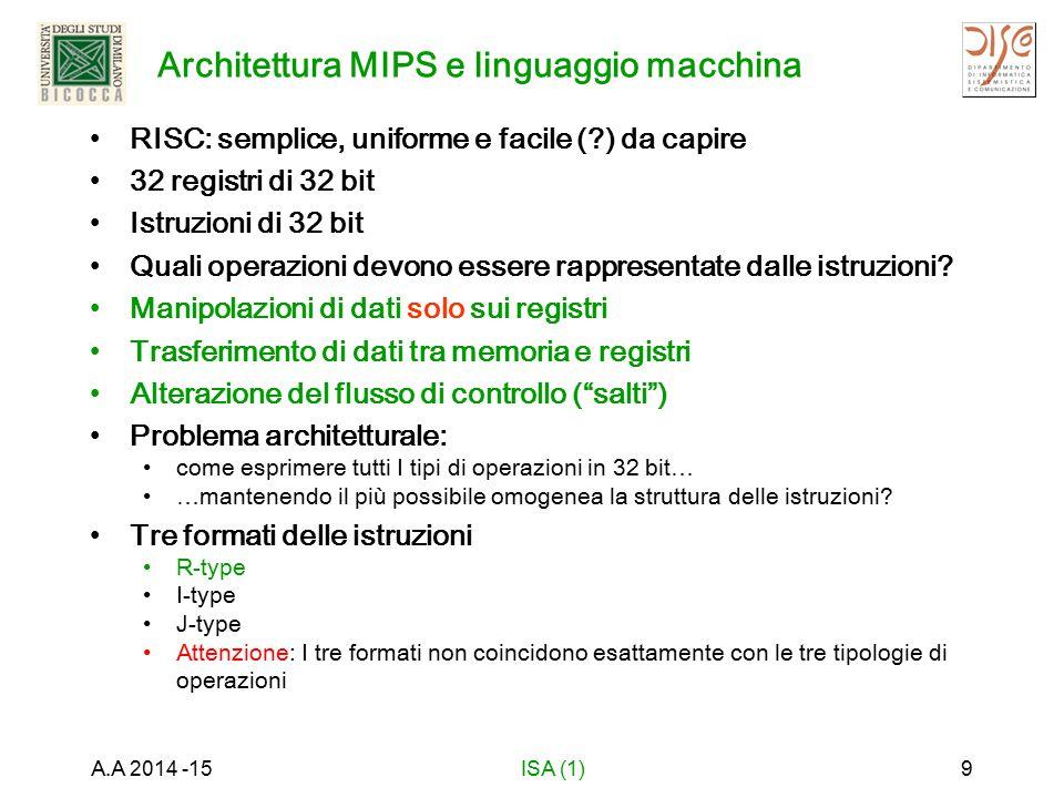 Architettura MIPS e linguaggio macchina RISC: semplice, uniforme e facile ( ) da capire 32 registri di 32 bit Istruzioni di 32 bit Quali operazioni devono essere rappresentate dalle istruzioni.