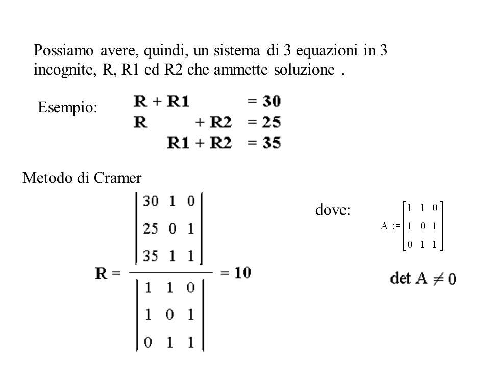 Possiamo avere, quindi, un sistema di 3 equazioni in 3 incognite, R, R1 ed R2 che ammette soluzione.