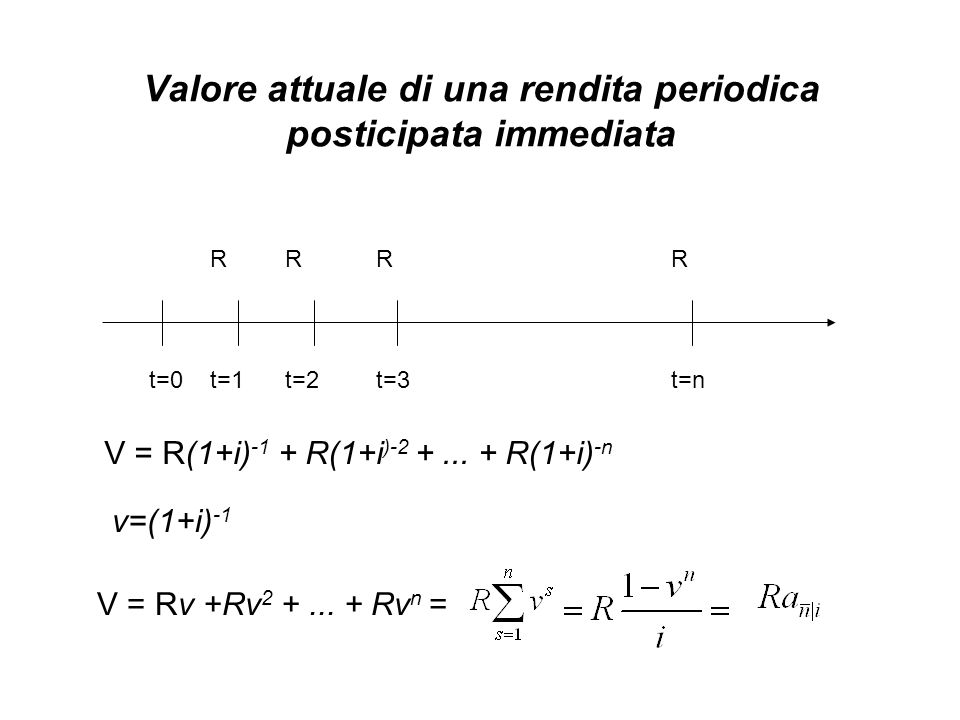 Valore attuale di una rendita periodica posticipata immediata V = Rv +Rv 2 +...