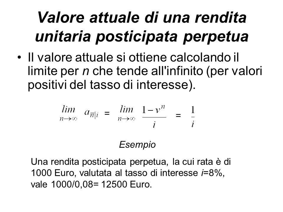 Valore attuale di una rendita unitaria posticipata perpetua Il valore attuale si ottiene calcolando il limite per n che tende all infinito (per valori positivi del tasso di interesse).