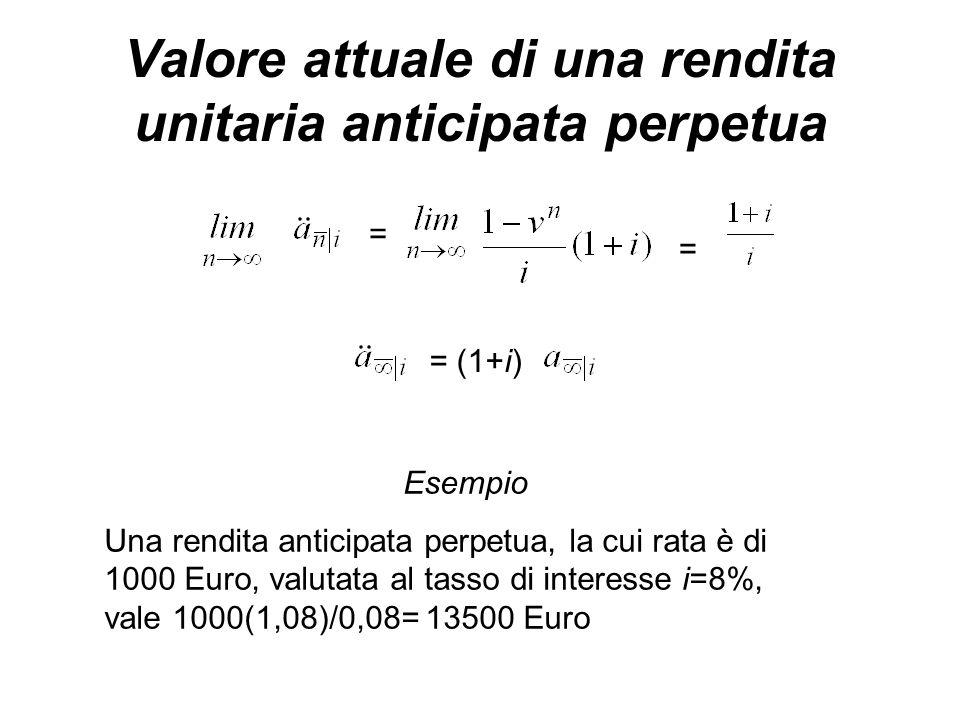 Valore attuale di una rendita unitaria anticipata perpetua = (1+i) = = Esempio Una rendita anticipata perpetua, la cui rata è di 1000 Euro, valutata al tasso di interesse i=8%, vale 1000(1,08)/0,08= 13500 Euro