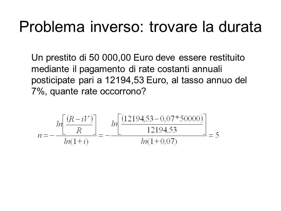 Problema inverso: trovare la durata Un prestito di 50 000,00 Euro deve essere restituito mediante il pagamento di rate costanti annuali posticipate pari a 12194,53 Euro, al tasso annuo del 7%, quante rate occorrono?